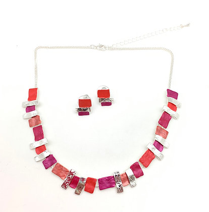#93 Coral Mosaic Necklace and Earrings Set