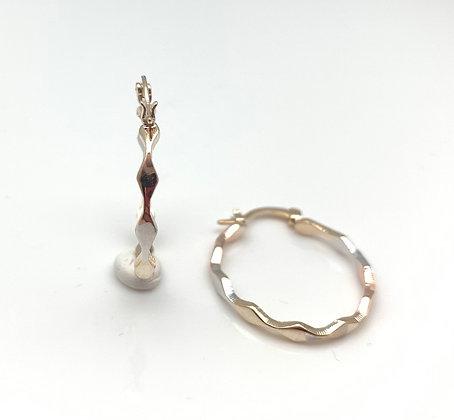 H151 Tricolor Diamond Shapes Hoop Earrings, Best Seller!