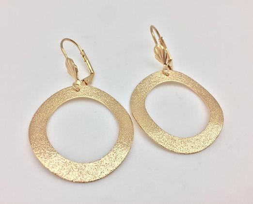 H42 Glitter Organic Circle Er, Gold Fill, Lever Ba