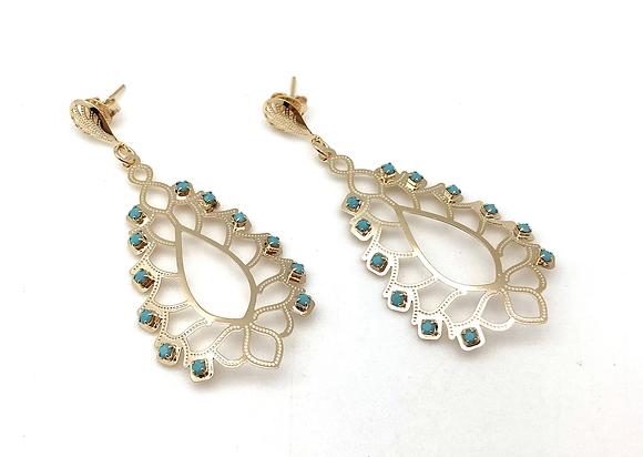 H167 Gold TurquoiseLotus Earrings