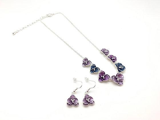 """#106 Purple """"Ran"""" Orchid Necklace Earrings Set"""