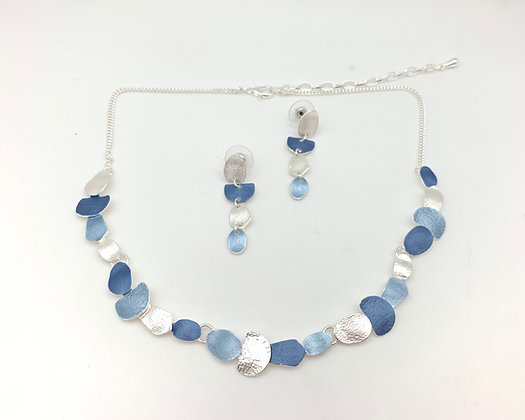 #95 Denim Blue Oval Necklace and Earrings Set