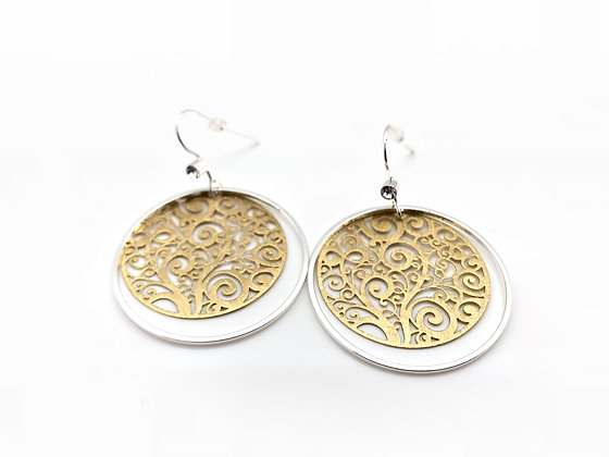 ES228 Two tone Swirlin Circle Earrings, Silver wire