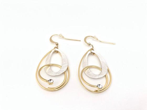 ES387 Silver and Gold Dancing Earrings, Best Seller!