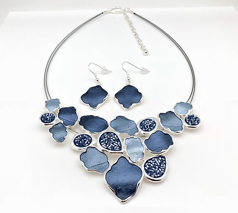 #70 Blue Kimono Necklace and Earrings Set