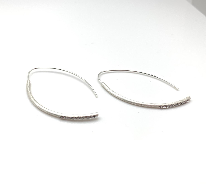 Thumbnail: ES439 Silver Sparkle Swing Earrings