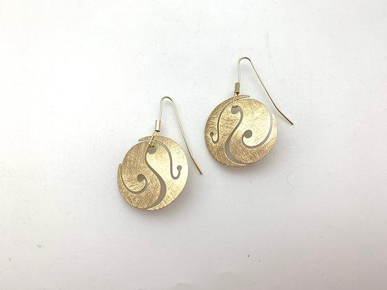 EG398 Gold Magatama Earrings
