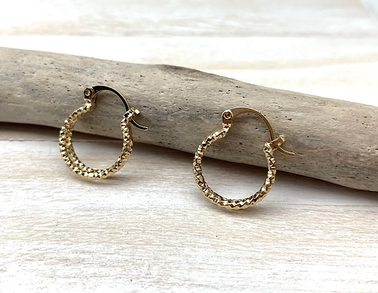 H170 Small Glittery Gold Hoops