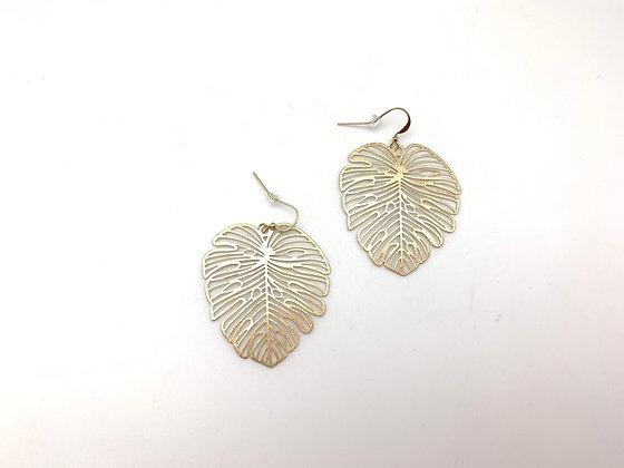 EG406 Gold Monstera Earrings, Top Seller