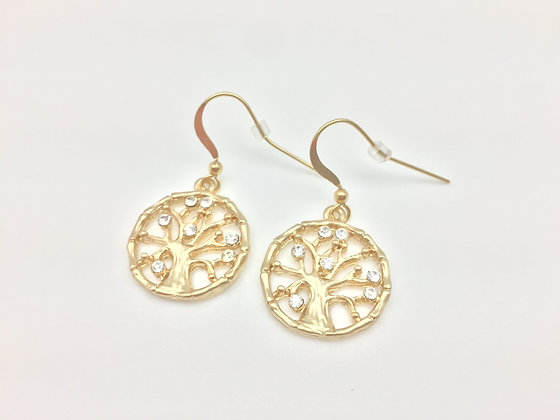 EG43 Gold Sparkling Tree Earrings