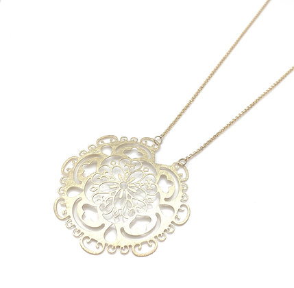 "NG63 SALE Final Price $15 Gold Long Lacy Necklace (24"" to 29"")"