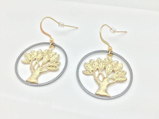EG 27. Gold/BK Tree Of life Earrings