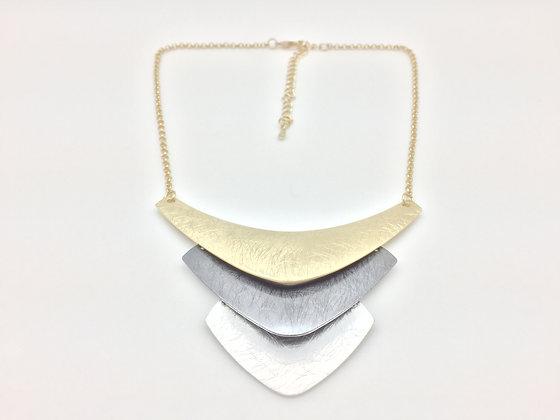 NB12 Sale Final Price $13 Tri Color Chevron Gold, Hematite and Silver N