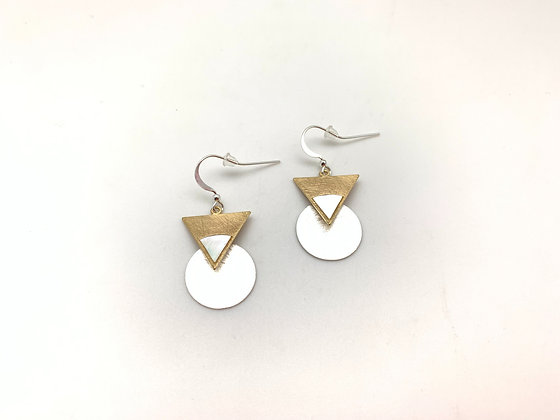 EG358 Gold Triangle Circle Earrings