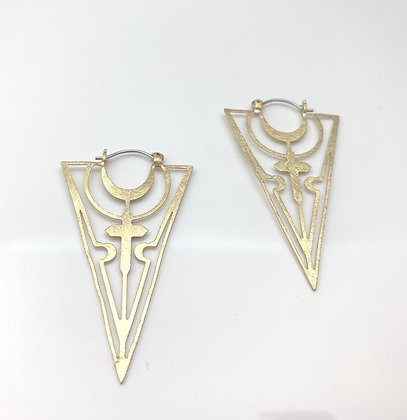 EG340 Gold Triangle Moon and Cross Earrings