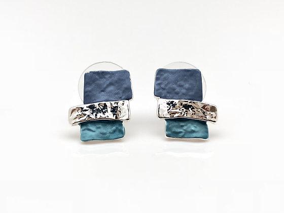 SE7 Blue Mosaic Post Earrings