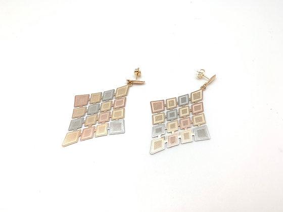 H134 Tricolor Diamond Earrings