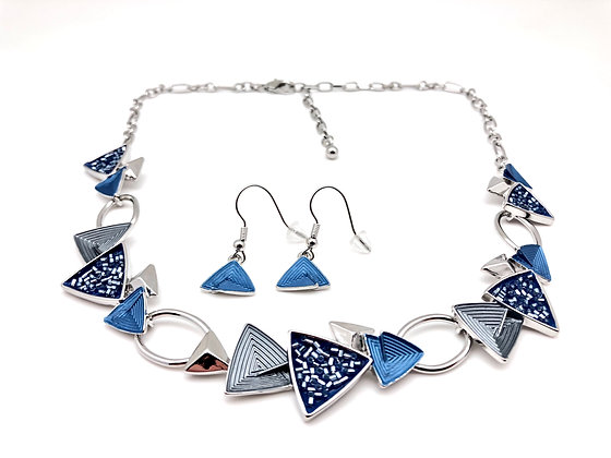 #66 Blue Gray Sparkling Necklace and Earrings Set