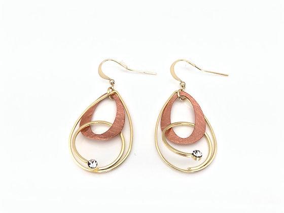 ER386 Rose and Gold Dancing Earrings, Best Seller!