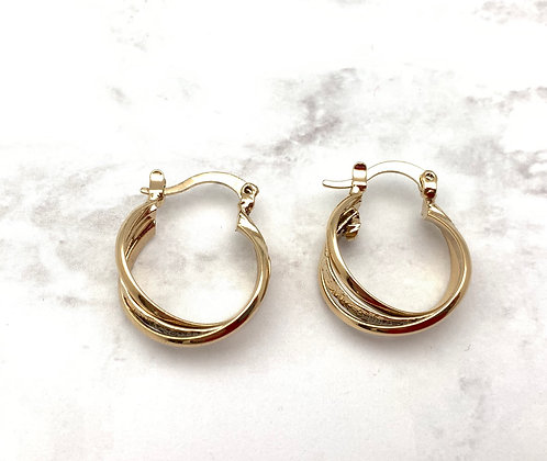 H161 Tricolor Pattern Small Goldfill Hoop