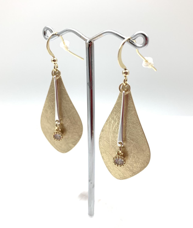 Thumbnail: EG418 Gold and CZ Swing Earrings