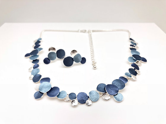#79 New! Blue and Silver Rain Drops Neck/Er Set