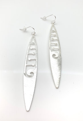 ES351 Silver Wave Long Earrings