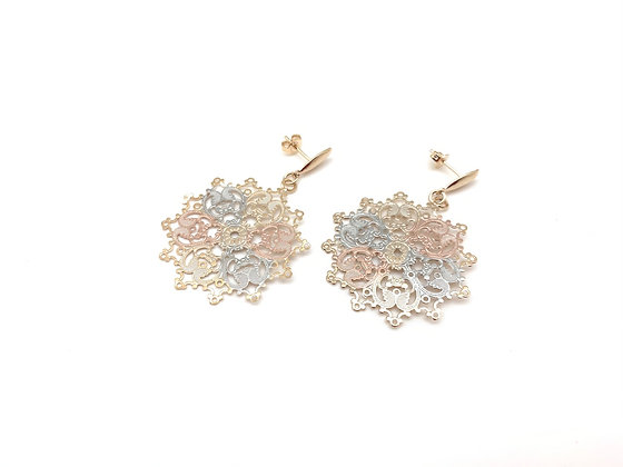 H142 Tricolor Lace Earrings, Best Seller