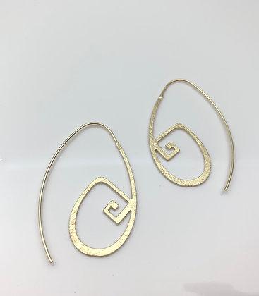 EG338 Gold Greek Key Hoop