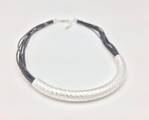 "NS51 Silver Bar Black Wax Cord Necklace 16""-19"""