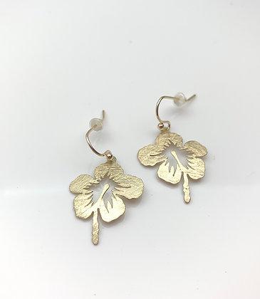 EG342 Gold Hibiscus Earrings