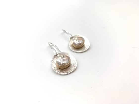 ES431 Silver and Gold Swarovski Drop Earrings (Matching Necklace NS70)