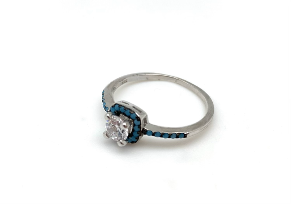 SR16 Turquoise CZ Silver Ring