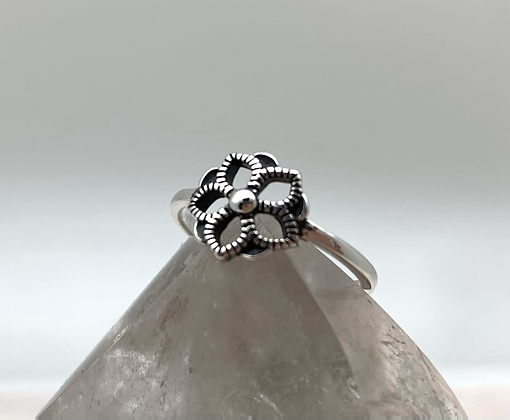 SR14 Bali Flower Silver Ring