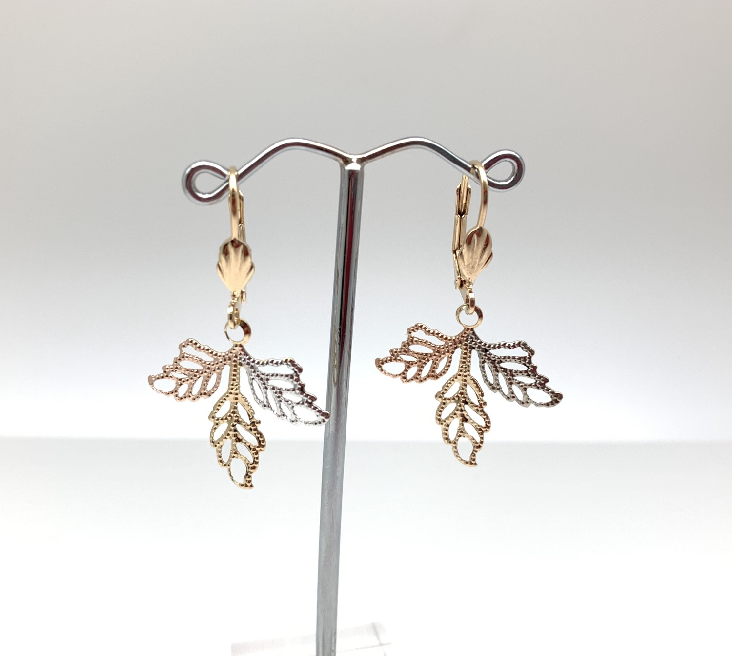 Thumbnail: H131 Tricolor Leaf Earrings