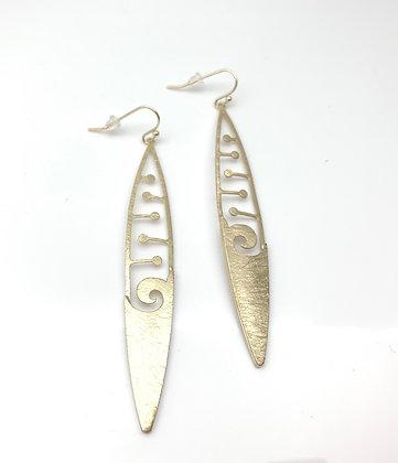 EG350 Gold Wave Long Earrings