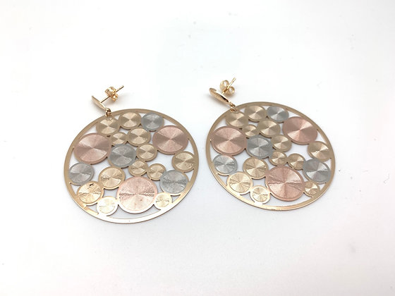 H148 Tricolor Round Disk Earrings