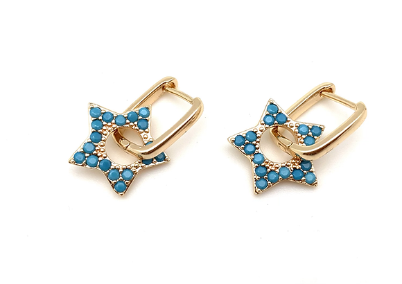 H180 Turquoise Star Gold Huggies Hoops