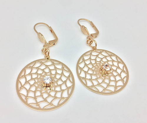 H37 Lacy Circle with CZ Er, Gold Fill, Lever Back