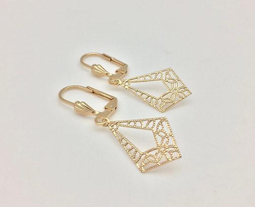 H5 Diamond Shape Er, Gold Fill, Lever Wires