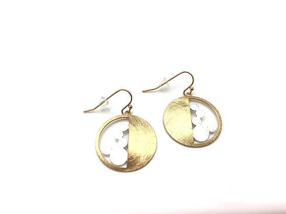 EG328 Gold and Silver Mizu Fuusen Earrings