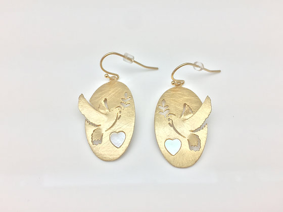 EG83 Gold Dove Earrings with Mother of Pearl
