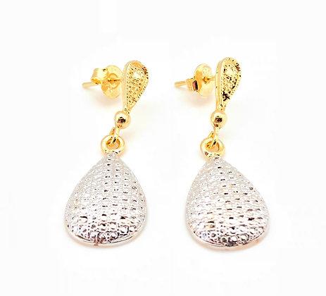 H76  Two Tone Tear Drop Post Earrings