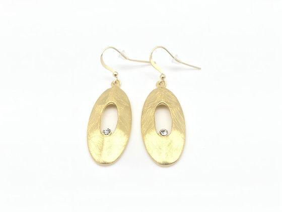 EG261 Gold Oval Earrings with CZ, Classy Style Best Seller