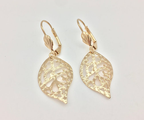 H9 Filigree Leaf Earrings, Gold Fill, Lever Wires