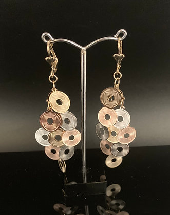 H97 Tri Color Disk Chandelier Earrings