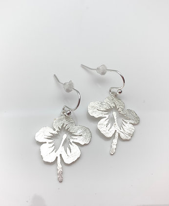 ES343 Silver Hibiscus Earrings