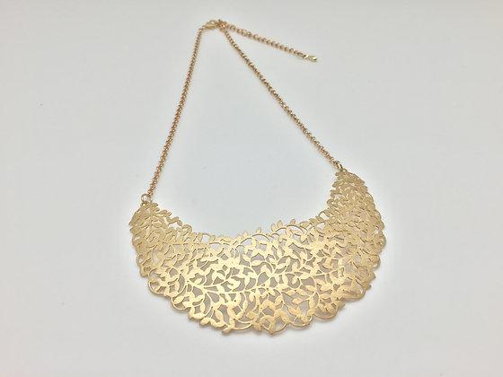 Gold Cut-out Leaf Bib Necklace