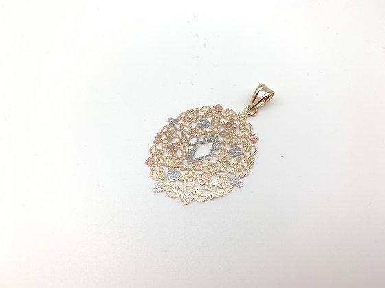 H145 Tricolor Oval Lace Pendant