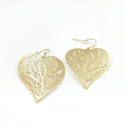 EG300 Gold Coral Heart Earrings